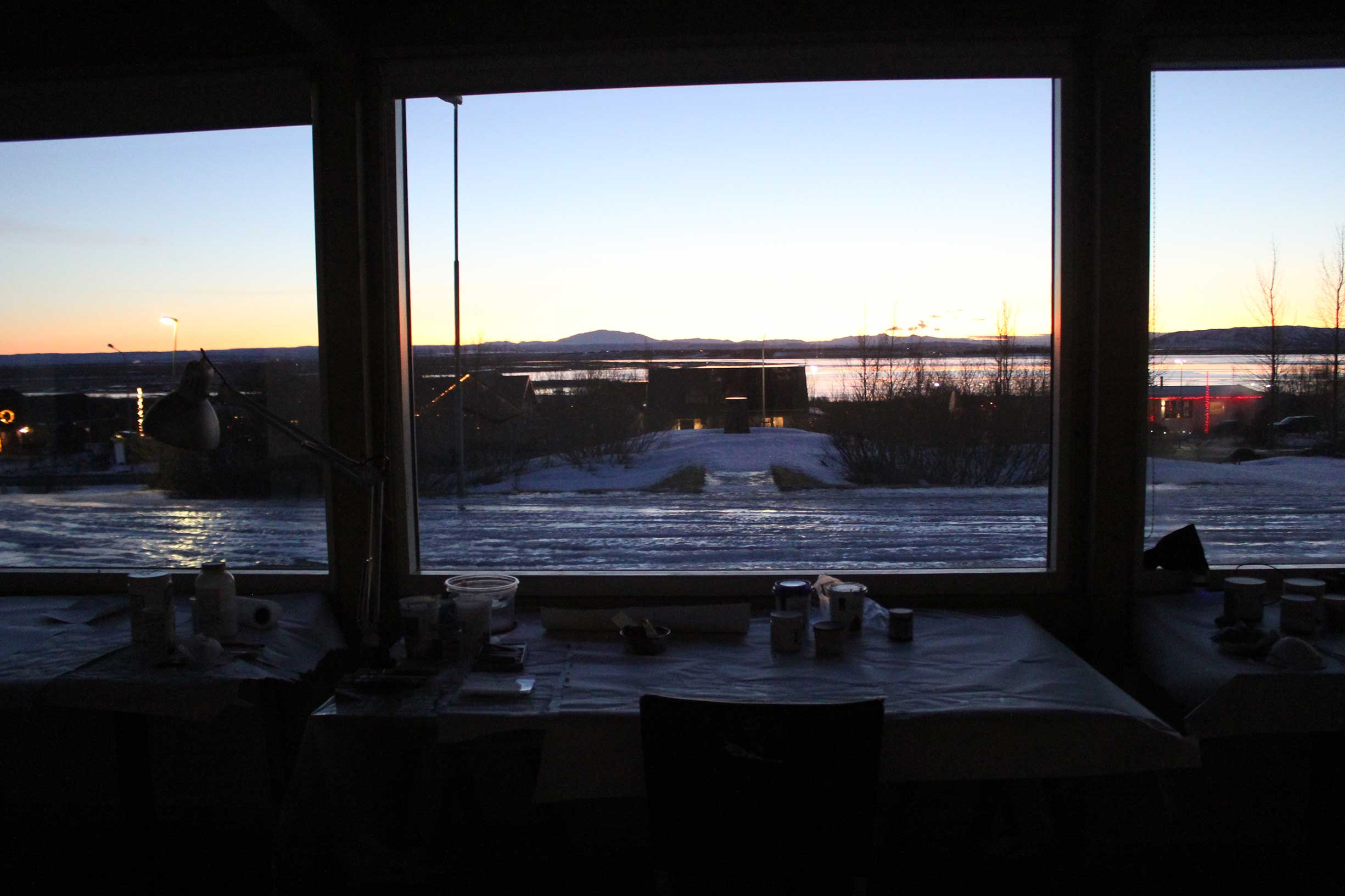 Winter view from studio. Mt Hekla